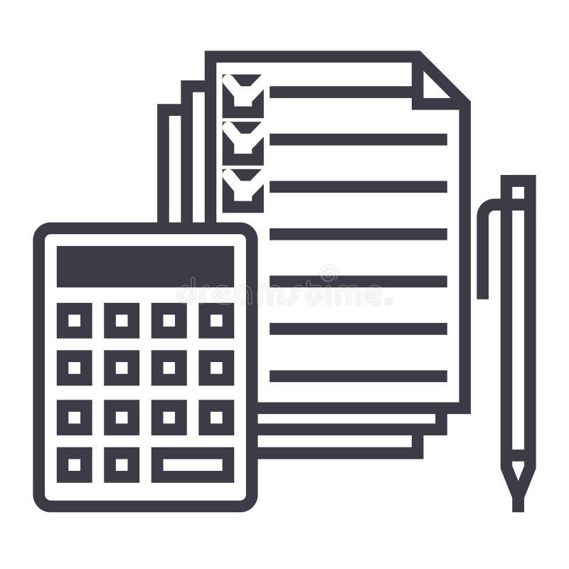 Бухгалтерия, калькулятор, ручка, флажок, docs vector линия значок, знак, иллюстрация на предпосылке, editable ходах иллюстрация штока