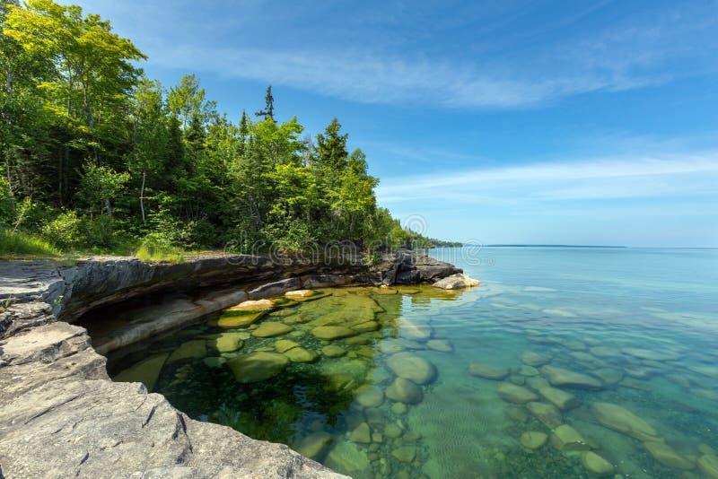 Бухта рая Lake Superior в поезде Мичигане Au стоковые изображения
