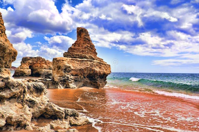 Бухточки в пляже стоковые фотографии rf