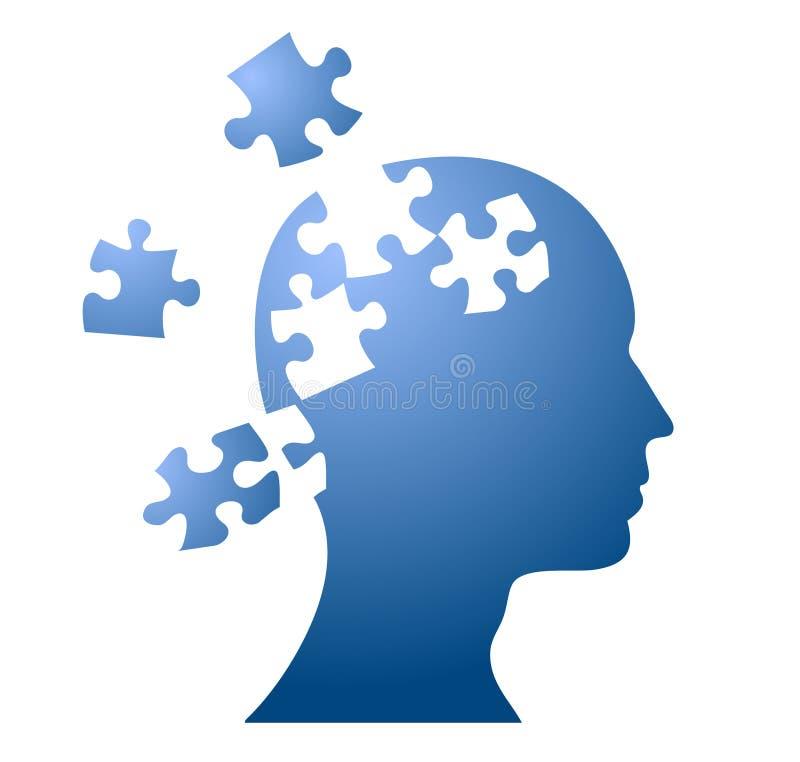 бушевать головоломки разума мозга иллюстрация вектора
