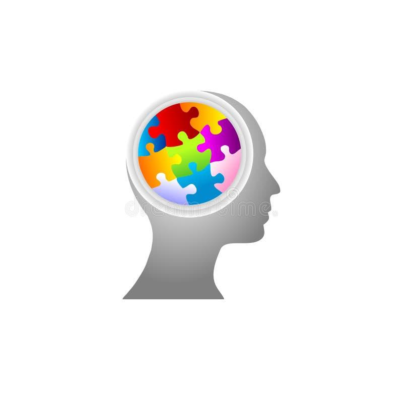 бушевать головоломки разума мозга иллюстрация штока