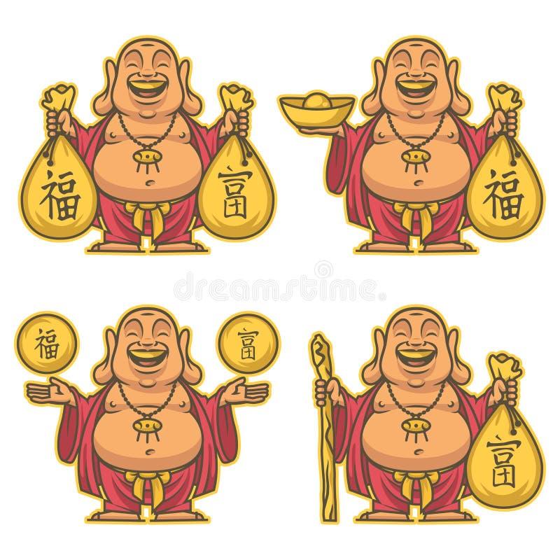Будда дает богатство и doodle счастья бесплатная иллюстрация