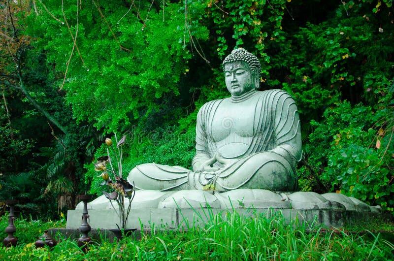 Будда в зеленом саде стоковые изображения