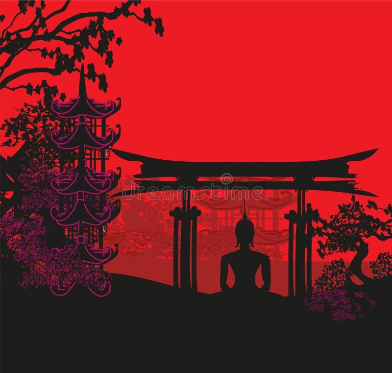 Будда и азиатский ландшафт иллюстрация вектора