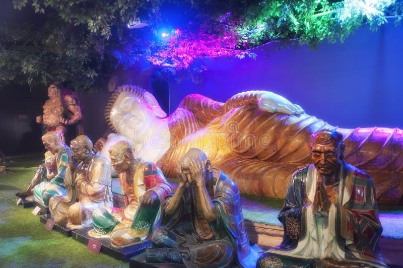 Будда и его ученики стоковое изображение rf