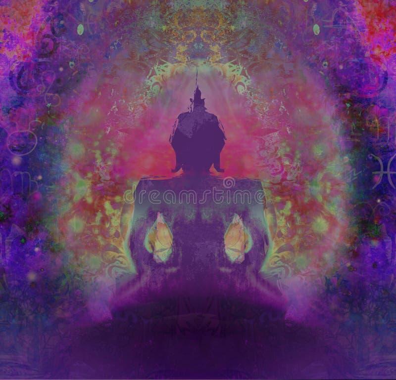 Будда против темной фиолетовой предпосылки иллюстрация штока