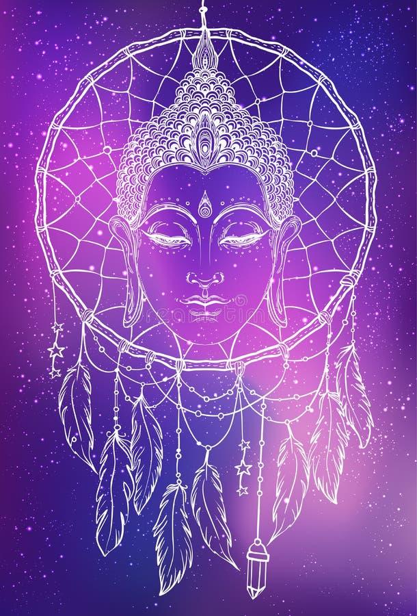 Будда смотрит на над картиной dreamcatcher круглой Эзотерический год сбора винограда ve иллюстрация вектора