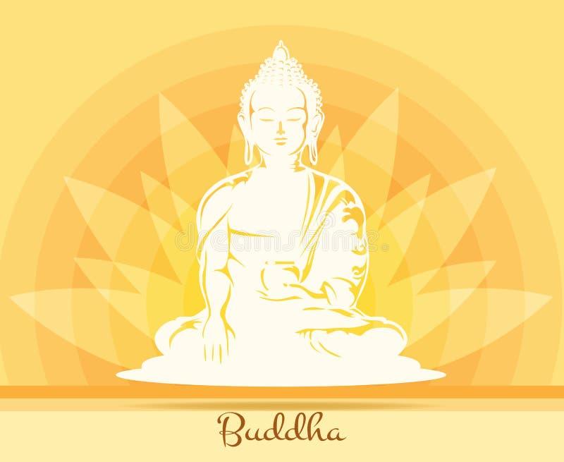 Будда с цветком лотоса иллюстрация штока