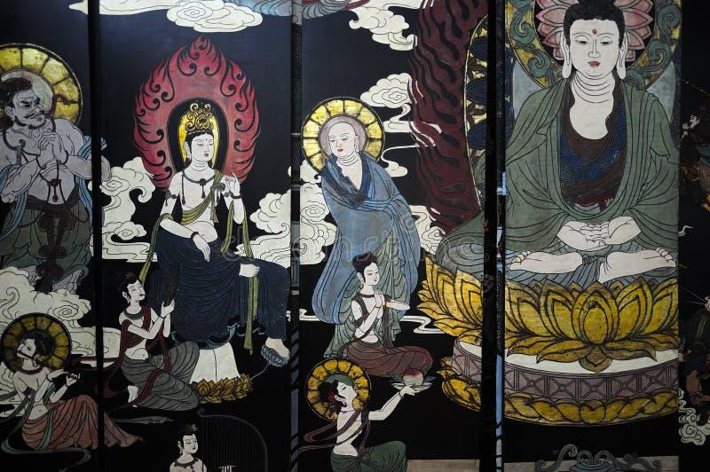 Буддийская настенная роспись молитве стоковая фотография rf