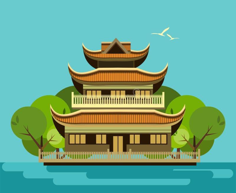 Буддийский висок старый иллюстрация вектора