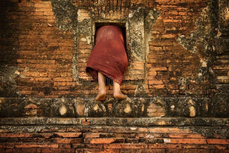 Буддийский монах послушника взбираясь в монастырь стоковые изображения rf