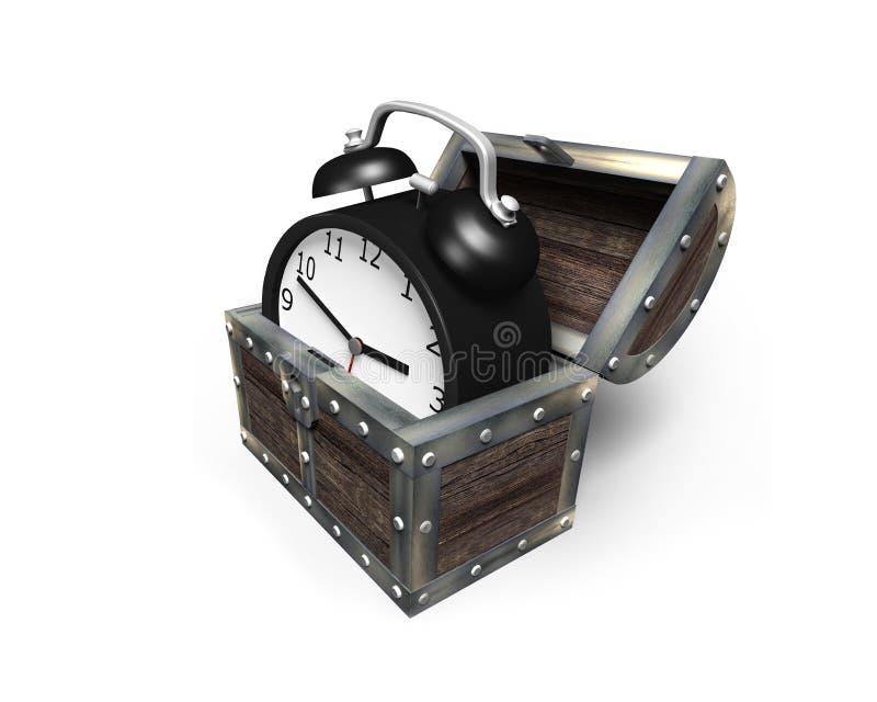 Будильник в сундуке с сокровищами, переводе 3D стоковая фотография rf