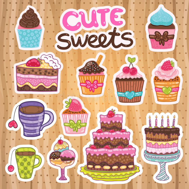 Булочка, пирожное, пирог, торт, комплект чая. иллюстрация вектора