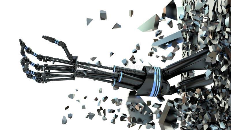 Будущая технология в черной простетической руке на белизне иллюстрация вектора