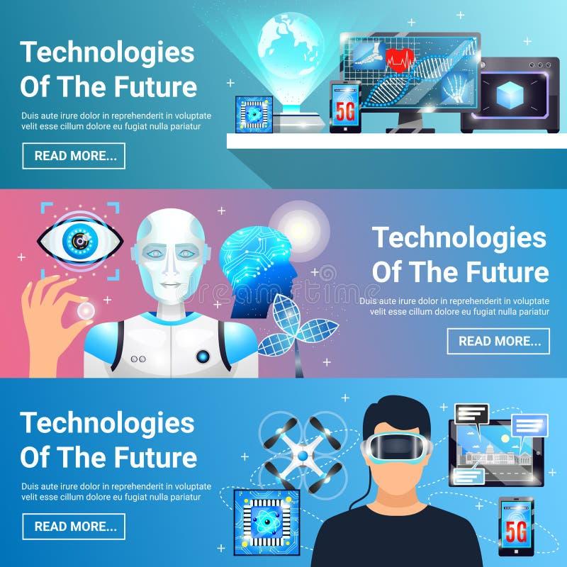 Будущие установленные знамена технологий иллюстрация штока