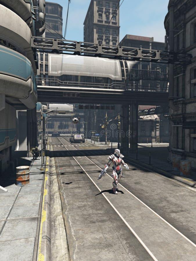 Будущий город - солдат на патруле иллюстрация вектора