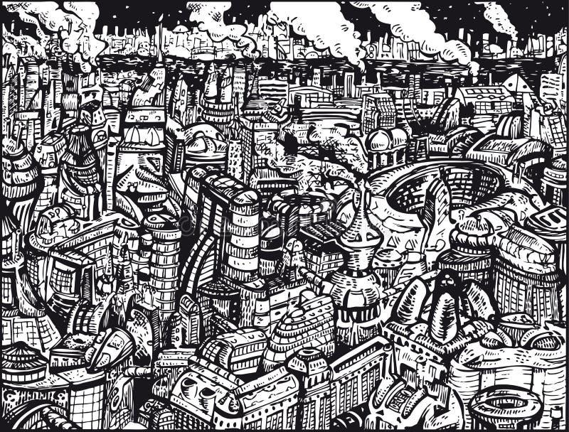 Будущий город черно-белый бесплатная иллюстрация