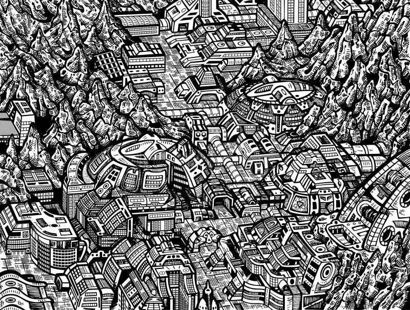 Будущий город иллюстрация вектора