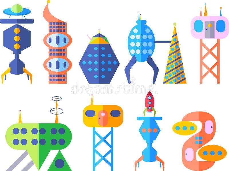 Download Будущий фантастический современный комплект города в стиле шаржа Иллюстрация штока - иллюстрации насчитывающей самомоднейше, cityscape: 81802475