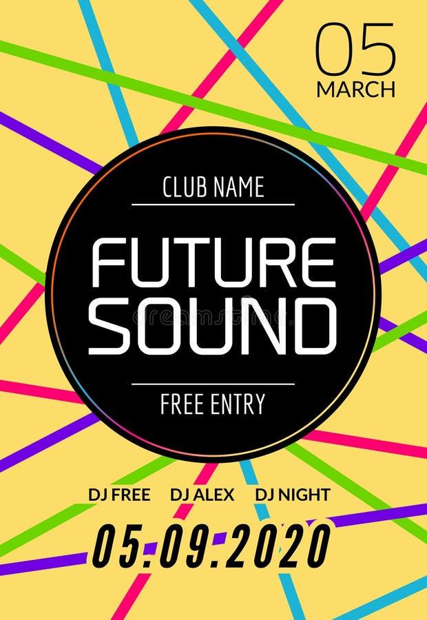 Будущий ядровый шаблон партии музыки, рогулька танцев, брошюра Знамя или плакат клуба партии ночи творческие с DJ иллюстрация штока