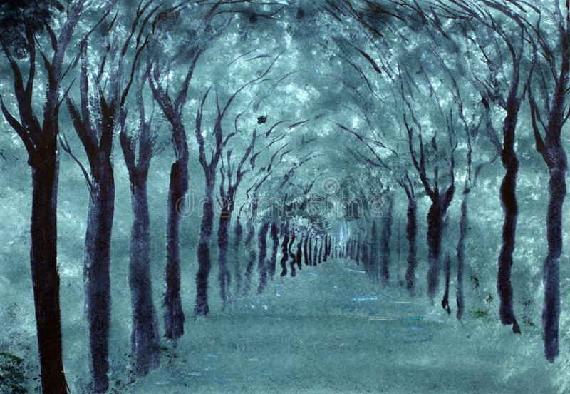 Бульвар деревьев в парке иллюстрация штока