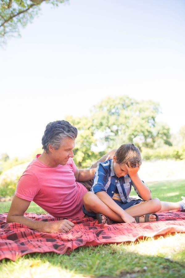 Будьте отцом утешать его сына на пикнике в парке стоковая фотография