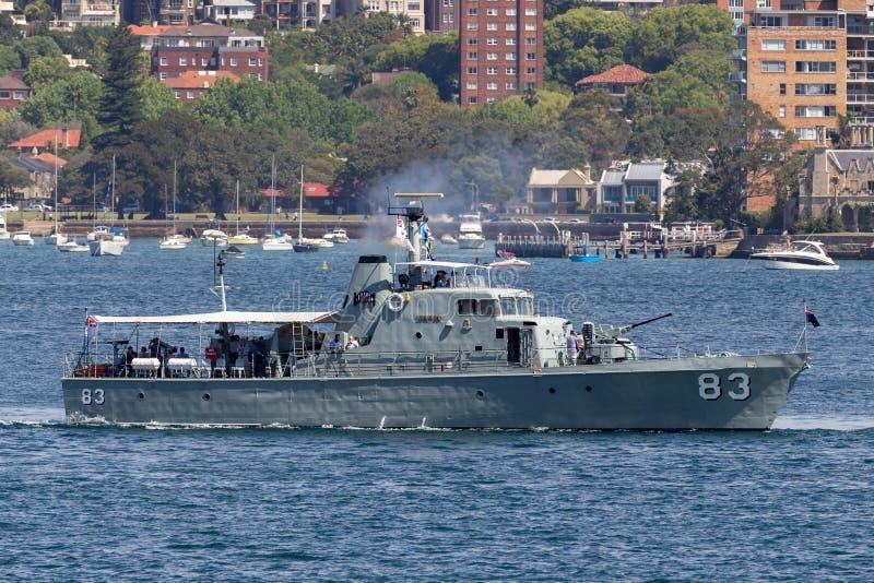 Бывшее выдвижение p 83 сторожевого катера HMAS Нападени-класса королевского австралийского военно-морского флота теперь эксплуати стоковое изображение