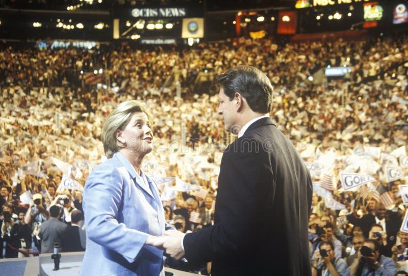Бывший вице-президент Al Gore поставляет ответную речь на 2000 демократичных конвенциях на Staples Center, Лос-Анджелес, CA стоковое фото