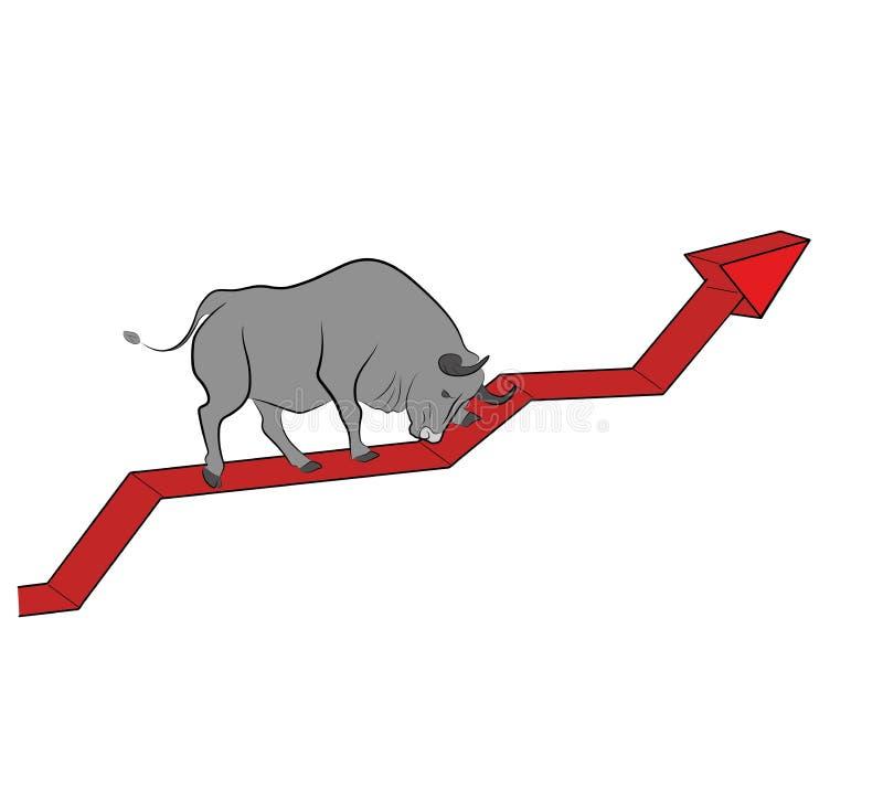 Бык поднимает вверх на диаграмму Бычья тенденция Секретная валюта также вектор иллюстрации притяжки corel бесплатная иллюстрация