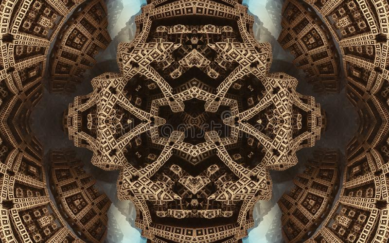 Былинные абстрактные фантастические плакат или предпосылка Футуристический взгляд from inside фрактали Картина в форме стрелок стоковое изображение rf