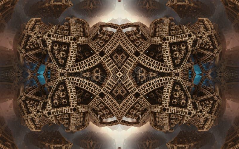 Былинные абстрактные фантастические плакат или предпосылка Футуристический взгляд from inside фрактали Картина в форме стрелок стоковое фото