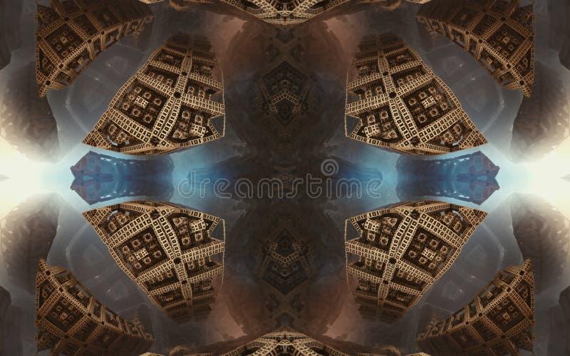 Былинные абстрактные фантастические плакат или предпосылка Футуристический взгляд from inside фрактали Картина в форме стрелок стоковые фотографии rf