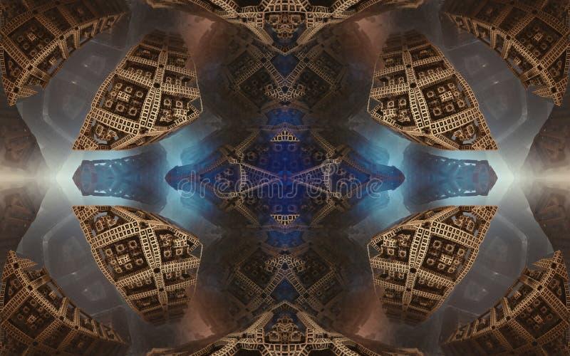 Былинные абстрактные фантастические плакат или предпосылка Футуристический взгляд from inside фрактали Картина в форме стрелок стоковое фото rf