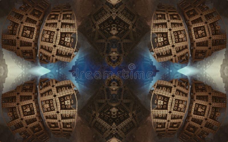 Былинные абстрактные фантастические плакат или предпосылка Футуристический взгляд from inside фрактали Картина в форме стрелок стоковые фото