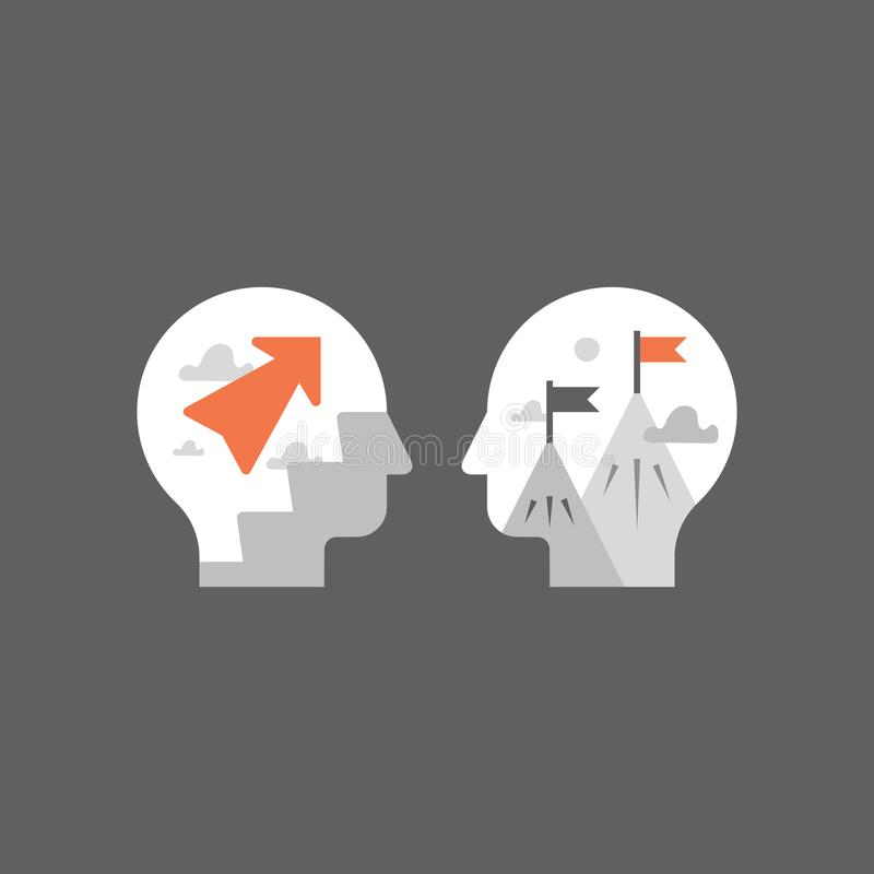 Быстрая личная мотивировка роста, интенсивная тренировка, быстрый учить, положительный склад ума, потенциальное развитие, следующ иллюстрация штока