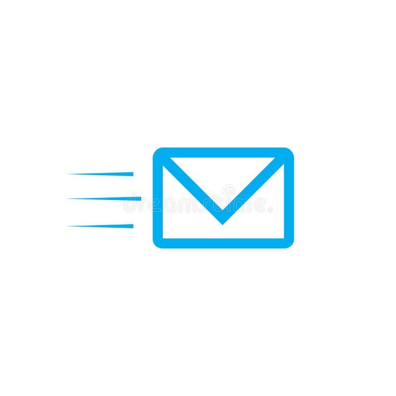 быстрая почта, электронная почта, значок вектора sms, значок электронной почты Конверт Fyling поставка голодает Иллюстрация векто иллюстрация вектора