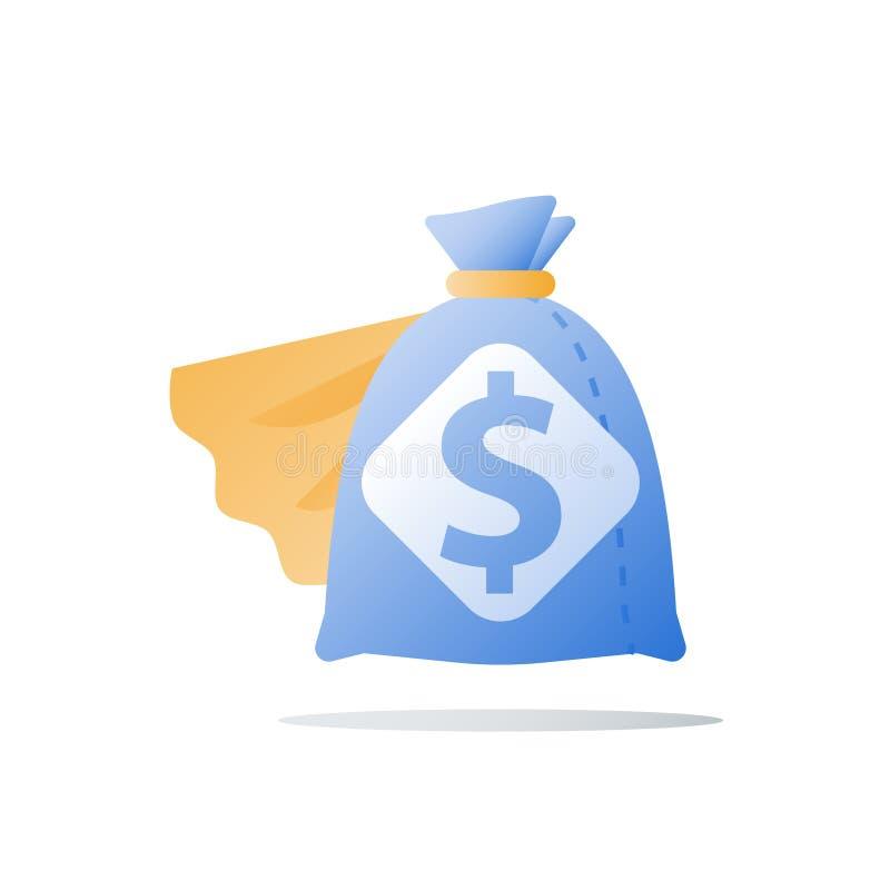Быстрая финансовая помощь, супер быстрый заем наличных денег, обеспечивает больше денег, большое количество денег, дар дела, повы иллюстрация вектора