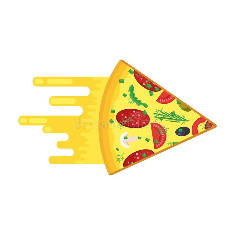 Быстрая часть пиццы иллюстрация вектора