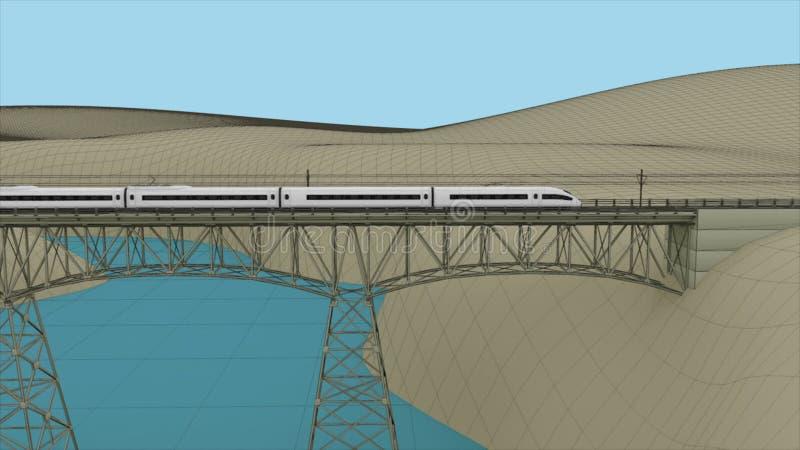 Быстроходный поезд пропуская через мост сток-видео