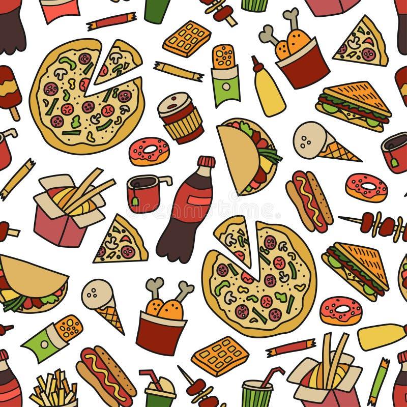 Быстро-приготовленное питание Безшовная картина в стиле doodle и шаржа цветасто иллюстрация штока
