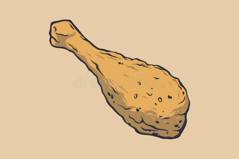 Быстро-приготовленное питание вкусно белизна изолированная предпосылкой Нога ` s цыпленка конструируйте ваше иллюстрация вектора