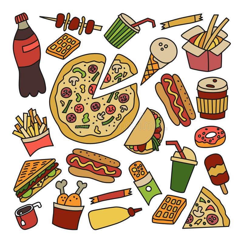 Быстро-приготовленное питание Комплект элементов в стиле doodle и шаржа цветасто бесплатная иллюстрация