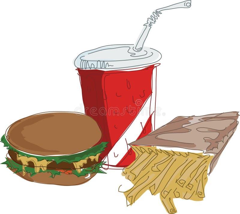 быстро-приготовленное питание иллюстрация вектора