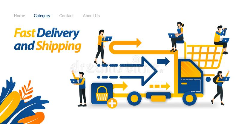 Быстрые обслуживания доставки и доставки обеспеченные от онлайн магазинов или электронной коммерции Иллюстрация вектора, сеть пло иллюстрация штока