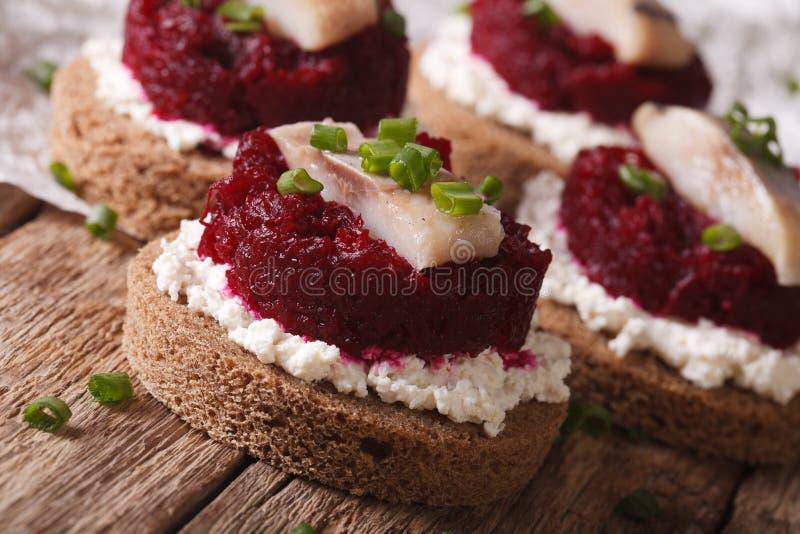 Быстрые сандвичи с концом-вверх бурака и плавленого сыра сельдей, стоковая фотография