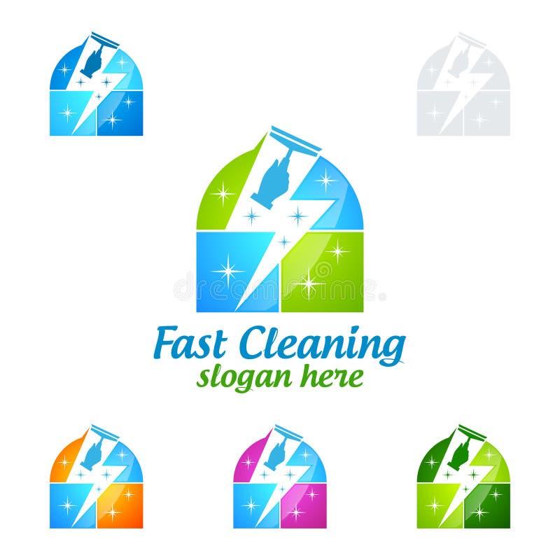Быстрый домашний дизайн логотипа вектора чистки, Eco дружелюбное при сияющая концепция брызга изолированная на белой предпосылке бесплатная иллюстрация