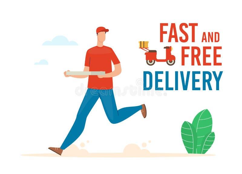 Быстрый и бесплатный транспарант Pizza Delivery Flat Vector Banner иллюстрация вектора