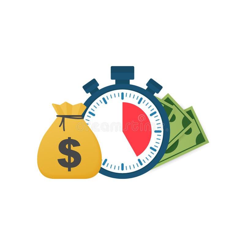 Быстрый кредит Часы и сумка, время деньги, быстрый заем, период оплаты, сберегательный счет также вектор иллюстрации притяжки cor иллюстрация вектора