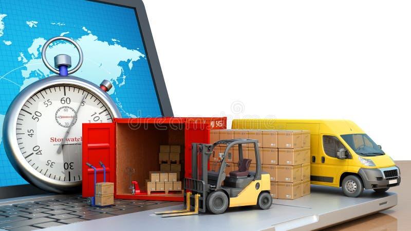 Быстрый онлайн контейнер минибуса затяжелителя концепции доставки с коробками на ноутбуке 3d представить на белизне бесплатная иллюстрация