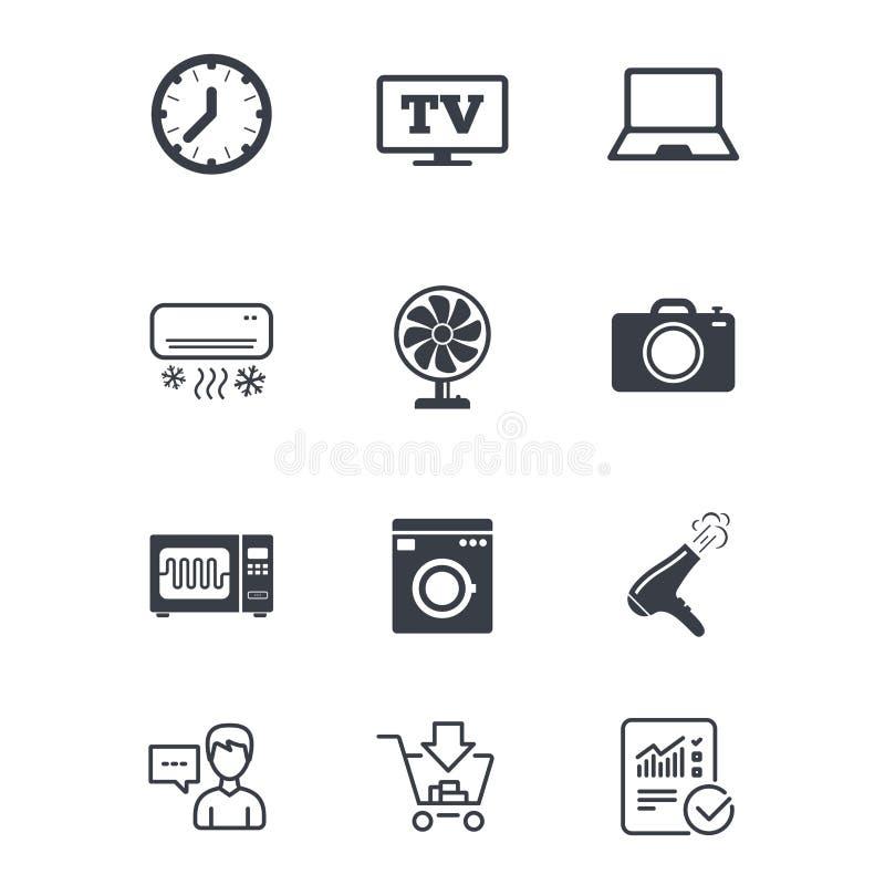 Бытовые устройства, значки прибора Знак электроники иллюстрация вектора